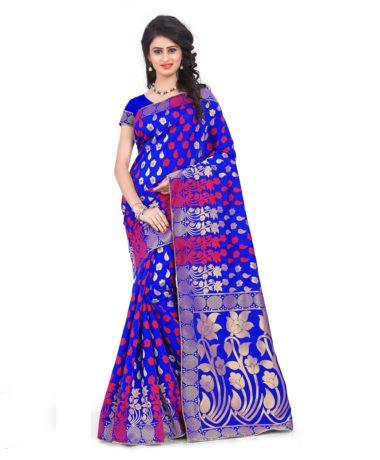 Royal Blue Banarasi Silk Saree -11