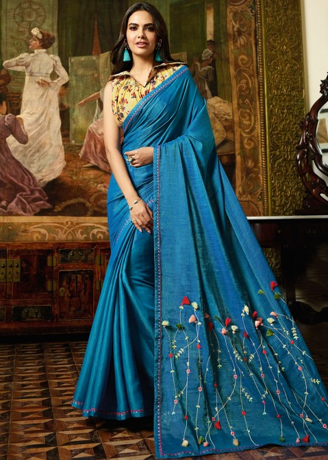 Esha Fancy Blue Saree With Golden Yellow Blouse