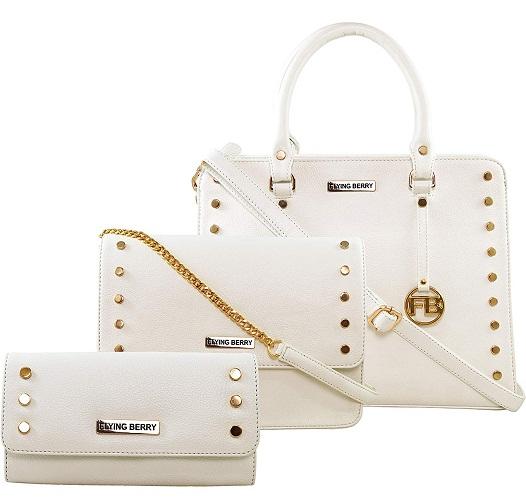Women's Handbag Combo In White Color (Set Of 3)