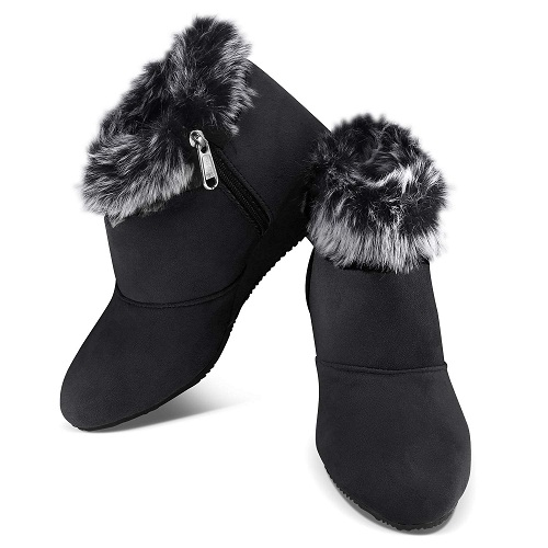 Latest Ankle Length Boots For Women In Black Color image 2