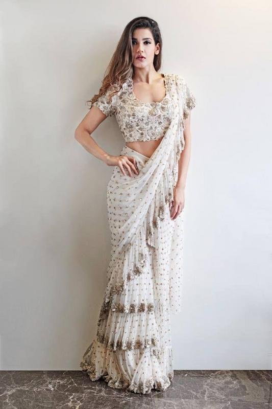 Elegant Floral Ruffle Bordered Net White Saree