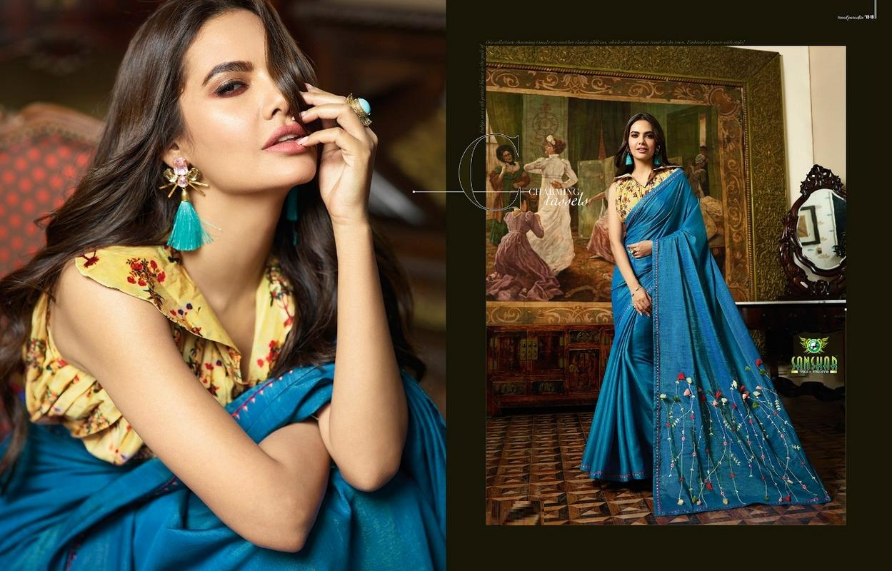 Esha Fancy Blue Saree With Golden Yellow Blouse image 1