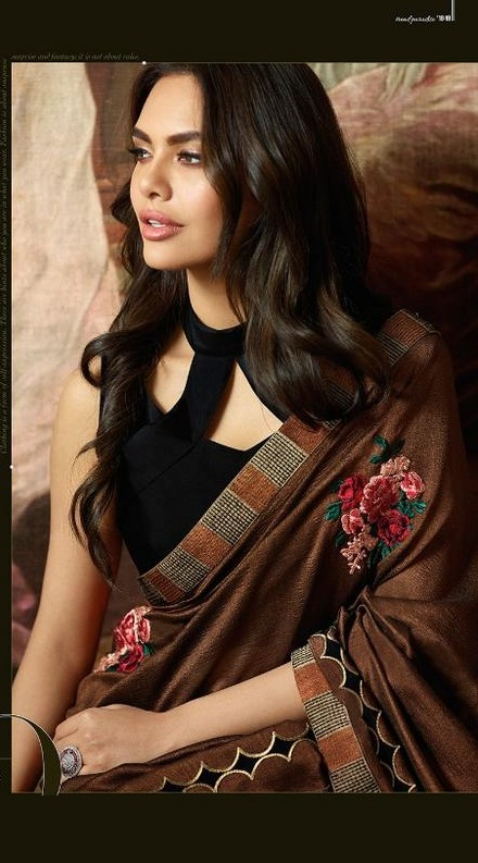 Fancy Brown Designer Saree With Black Blouse image 2