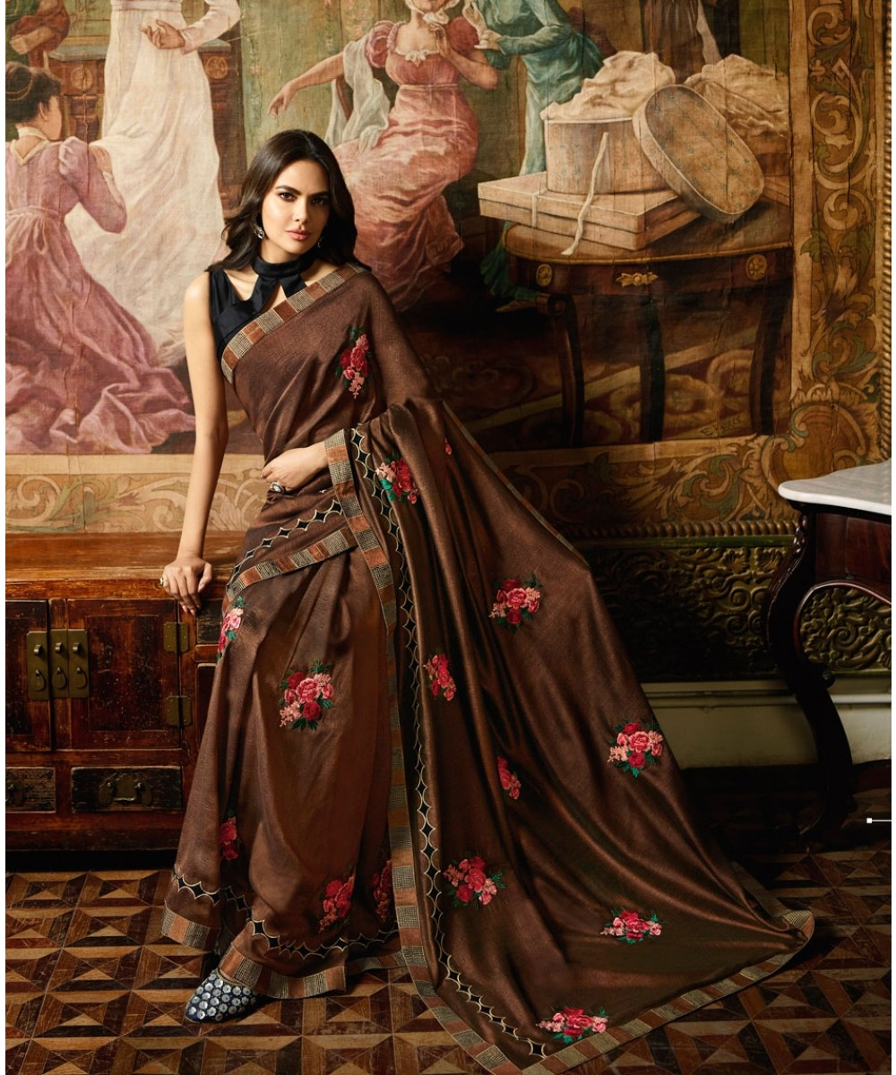 Fancy Brown Designer Saree With Black Blouse image 1