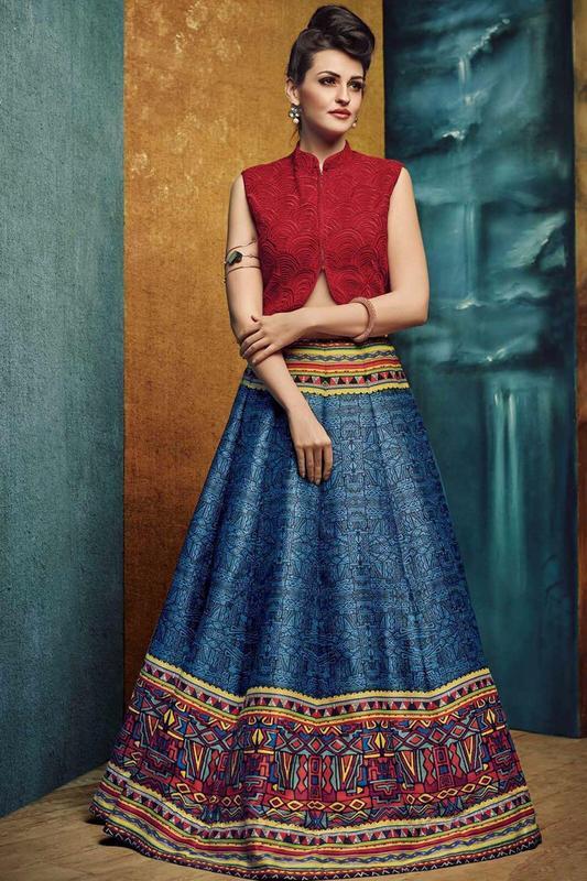 Maroon & Blue Lehenga With Bhagalpuri Print