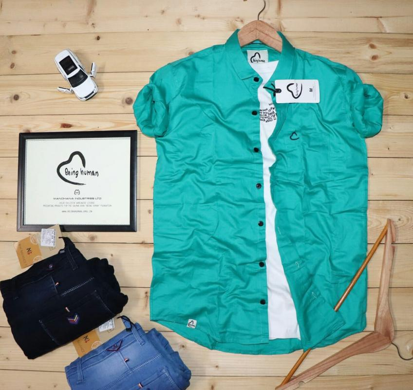 Rama Green Mens Shirt With Full Sleeves & Black Botton