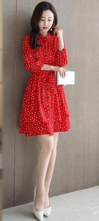Digital Printed Creap Red One Piece Dress image 1