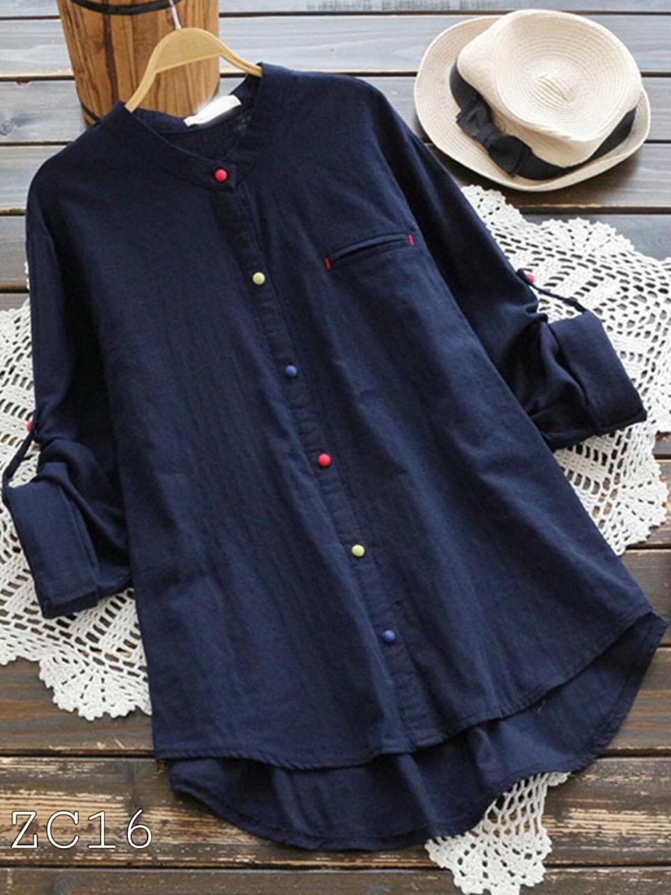 Denim Style Blue Long Wear Shirt With Multicolor Buttons