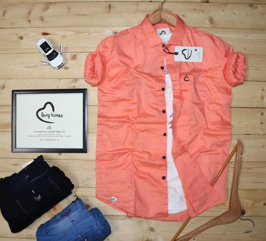 Punch Pink Mens Shirt With Full Sleeves