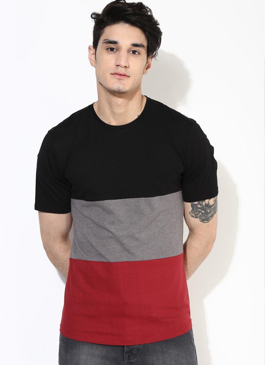 Mens Three Part Premium T-Shirt in Maroon & Black image 2