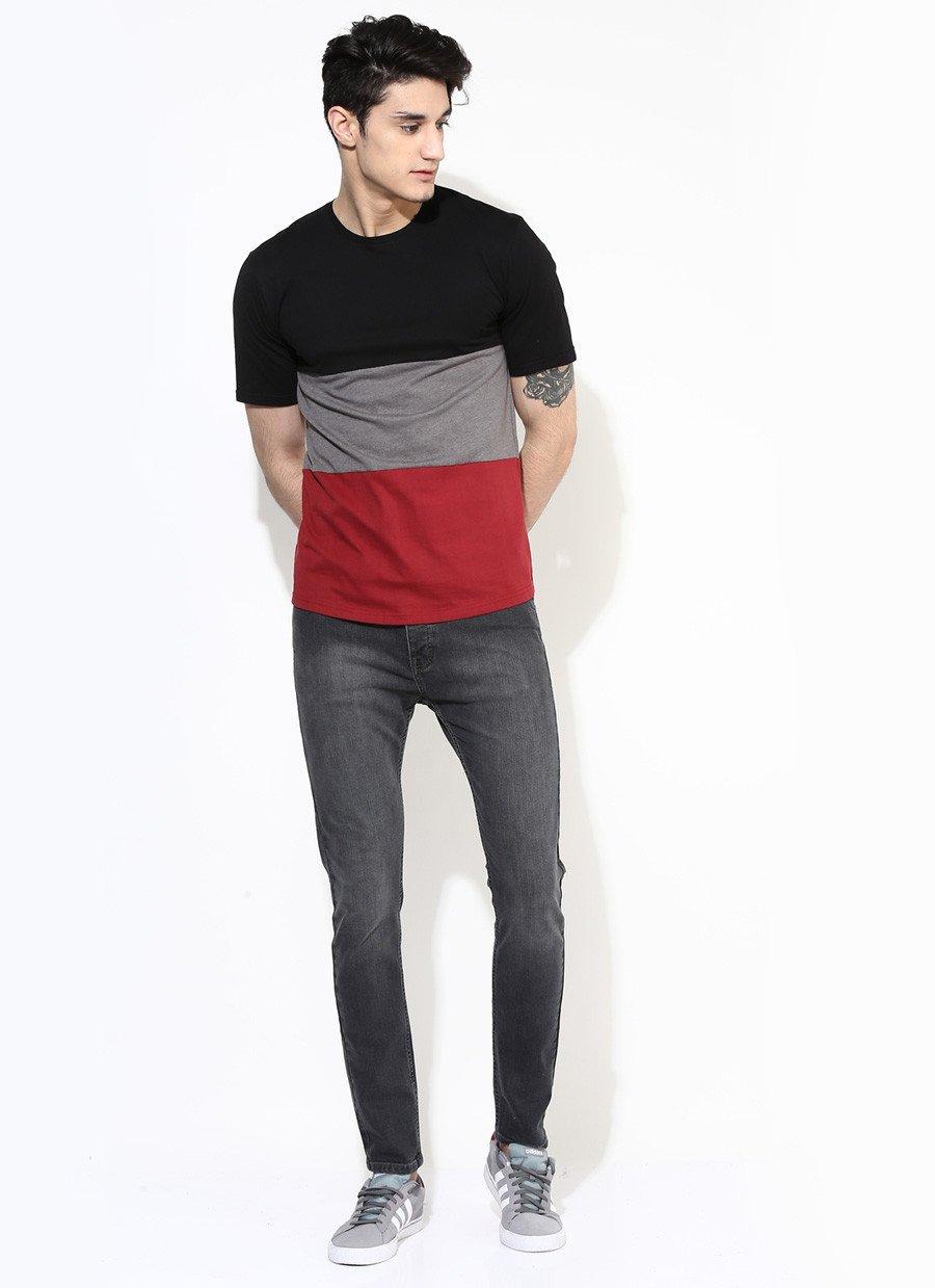 Mens Three Part Premium T-Shirt in Maroon & Black image 1