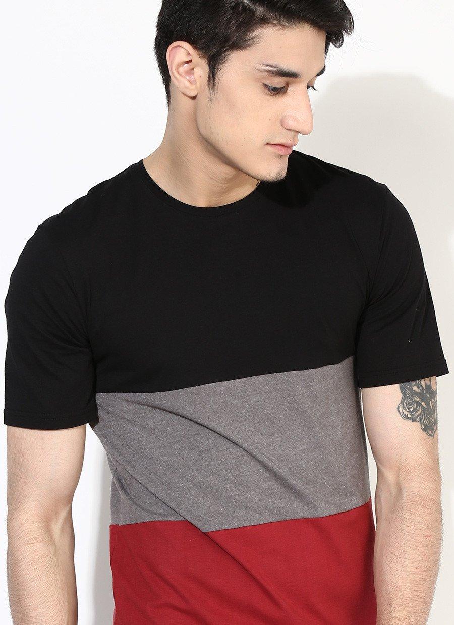Mens Three Part Premium T-Shirt in Maroon & Black