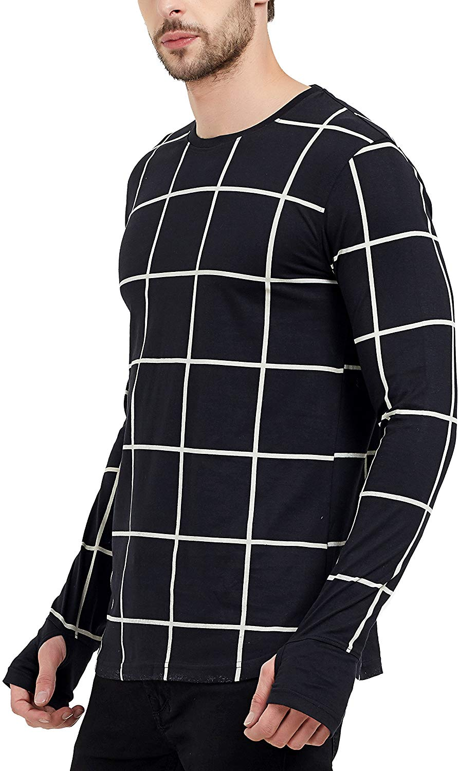 Men's Fullsleeve Round Neck Checkered Thumb Hole Black T-Shirt image 2