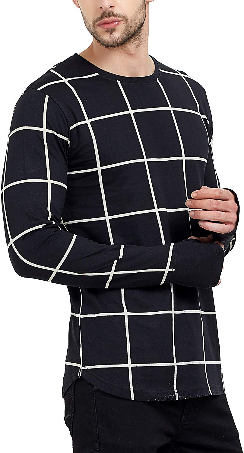 Men's Fullsleeve Round Neck Checkered Thumb Hole Black T-Shirt image 1