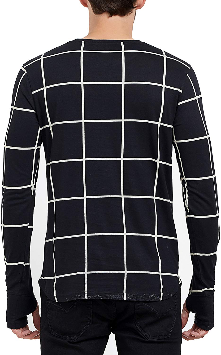 Men's Fullsleeve Round Neck Checkered Thumb Hole Black T-Shirt image 4