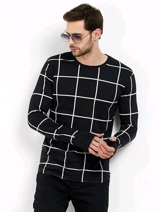 Men's Fullsleeve Round Neck Checkered Thumb Hole Black T-Shirt image
