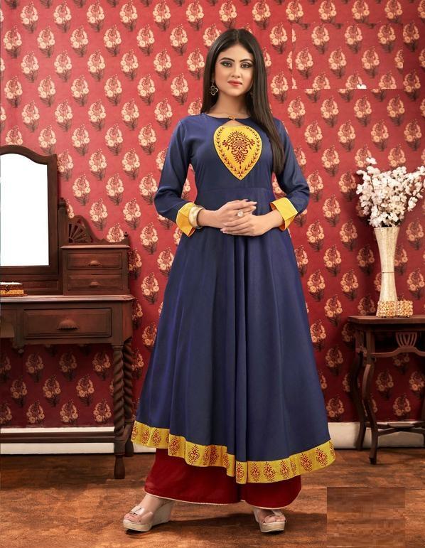 Navy Blue Kurti With Yellow Border & Design