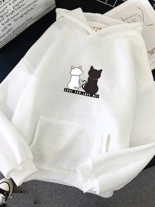 Stylish Womens White Cat Printed Sweatshirt
