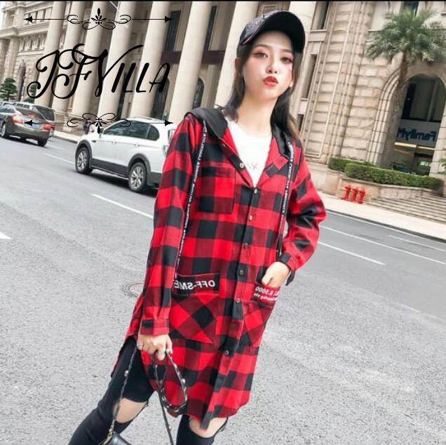 Fashionable Red & Black Checks Womens Hooded Shirt