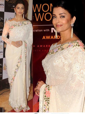 Bt-138 New Aish White Georgette  Tissue And Rowsilk Saree- 60gm