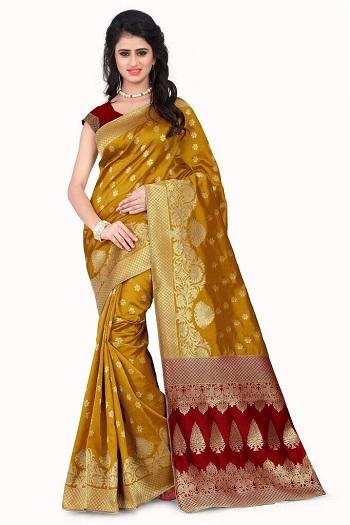 Musterd Banarasi Silk Saree With Red Blouse-(24)