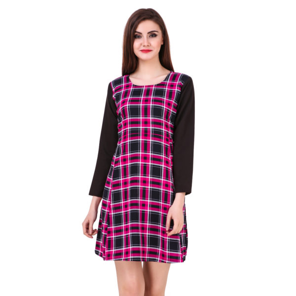 Pink And Black Checks Printed One Piece Dress With Sleeves