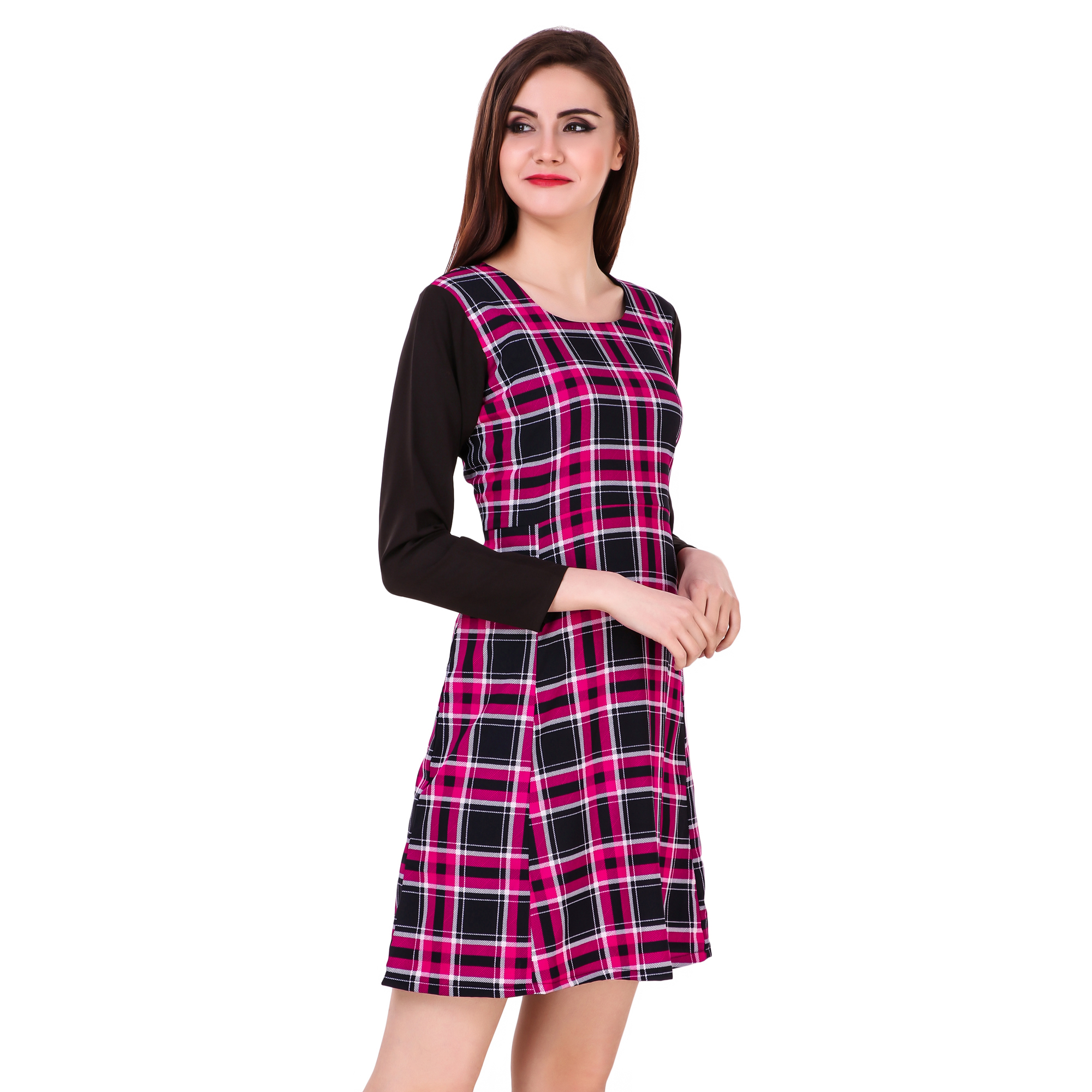 Pink And Black Checks Printed One Piece Dress With Sleeves image 3
