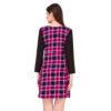 Pink And Black Checks Printed One Piece Dress With Sleeves image 1