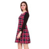 Pink And Black Checks Printed One Piece Dress With Sleeves image 2