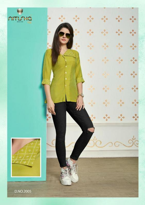 Nitisha Nx Pear Cotton Embroidery Short Top