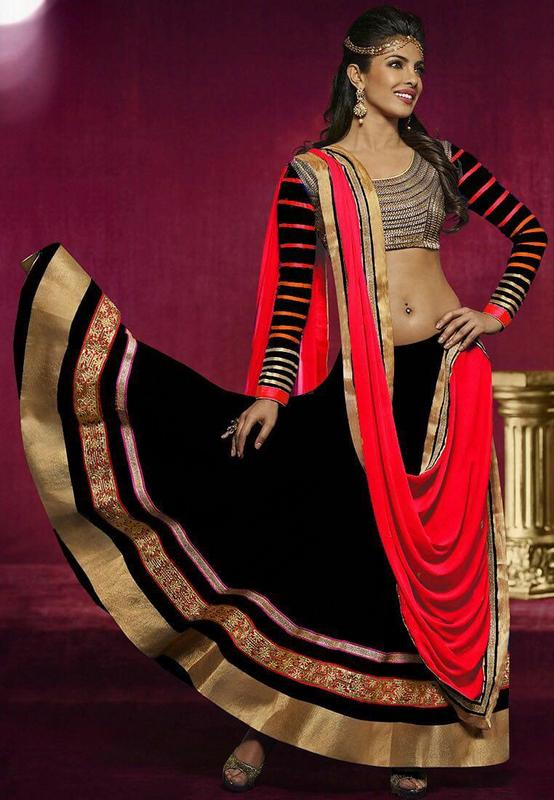 New Black Designer Lehenga With Red Dupatta