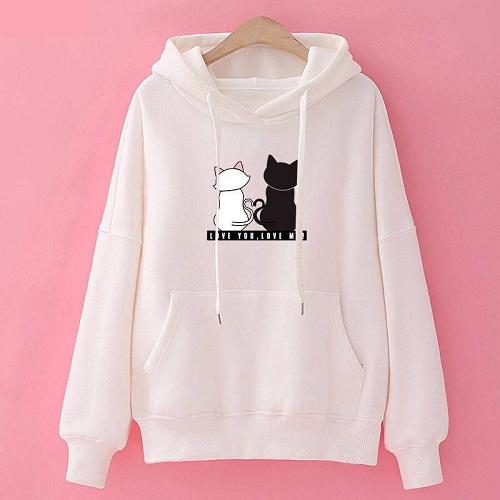 Stylish Womens White Cat Printed Sweatshirt image 1