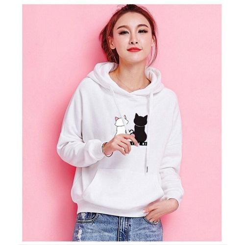 Stylish Womens White Cat Printed Sweatshirt image 2