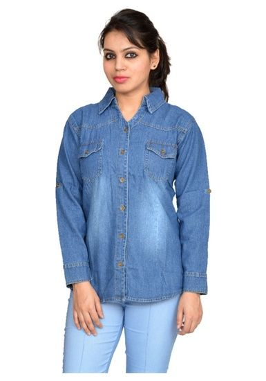 Newtrend Full Sleeve Denim Blue Shirt For Women