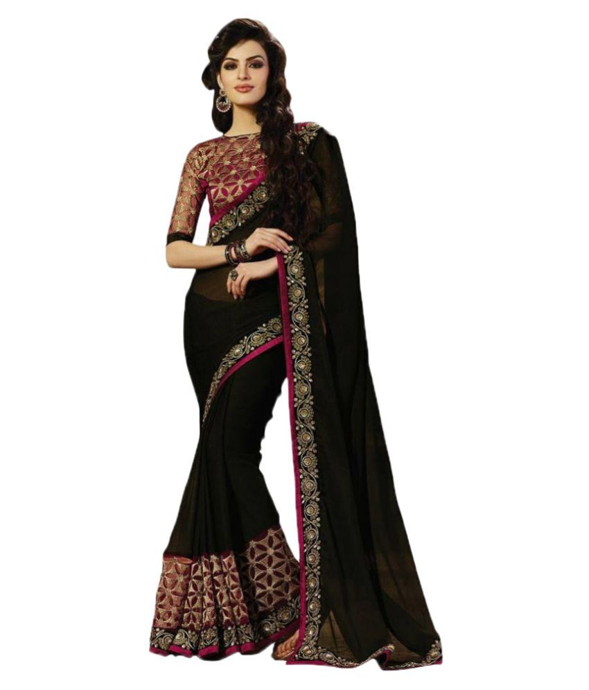 Embroidered Black And Red Georgette Saree