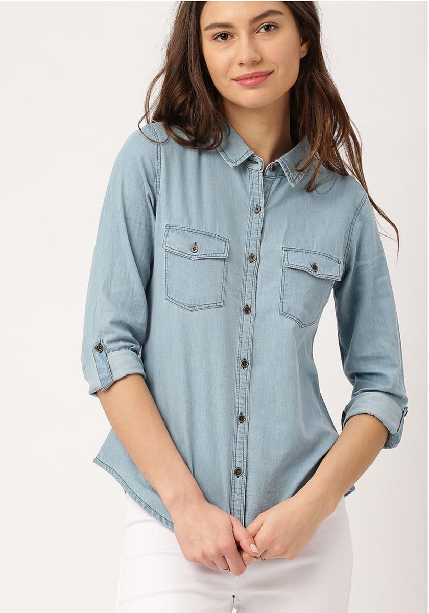 New Trendy Casual Wear Denim Shirt For Girls
