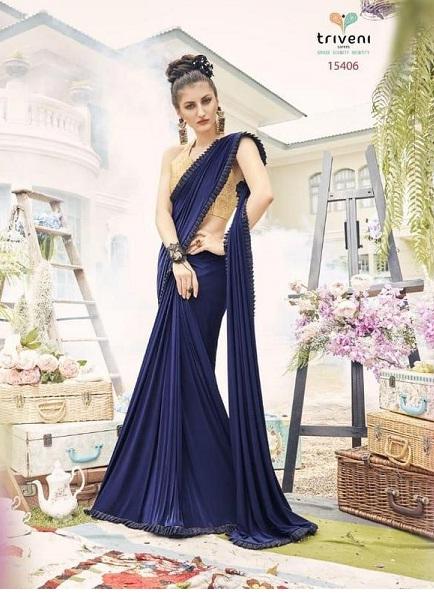 Blue & Golden Fancy Wear Silk Saree