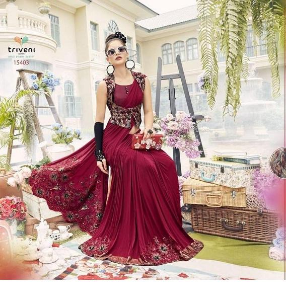 New Mozila Embroidered Silk Cottan Band Straight Designer Saree