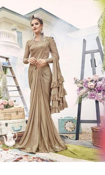 New Golden Zari Work Designer China Saree