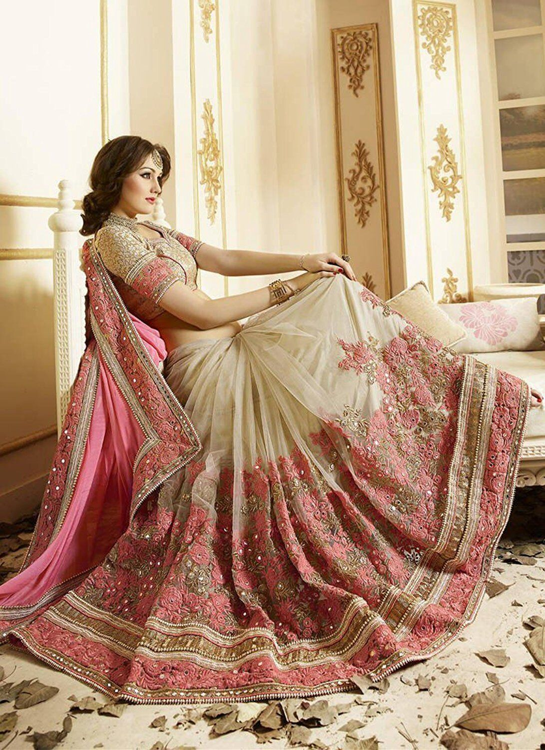 Entrancing Blossom Pink Georgette Designer Saree With Blouse